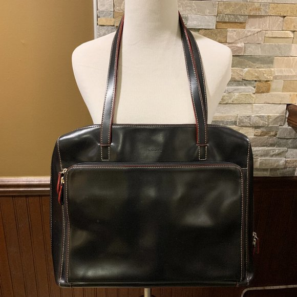 Lodis Handbags - LODIS Black Leather Red Piping Computer Tote